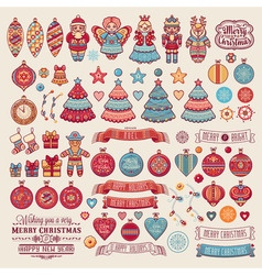 Christmas decorations for invitations and greeting vector