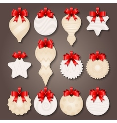 Christmas Decorations Labels With Bows vector image