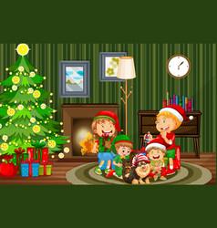christmas indoor scene with many children vector image