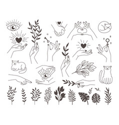 collection icons magic hands tattoo vector image