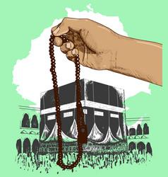 Colorful hand praying kaaba hand drawn on green vector