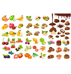 colorful sweet and organic food set vector image