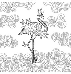 Coloring page with doodle style flamingo vector