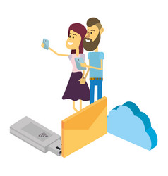 couple and email technology isometric vector image