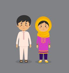 Couple character wearing pakistan national dress vector