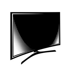 curved tv side view monochrome vector image