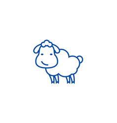 cute sheep line icon concept cute sheep flat vector image