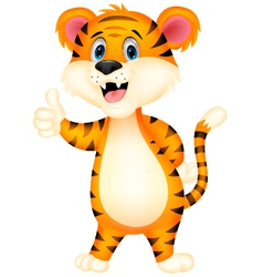 Cute tiger cartoon giving thumbs up vector