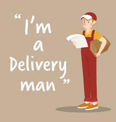 Delivery man character with package and order on vector