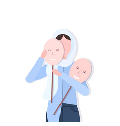 Depressed arabian woman holding positive mask girl vector