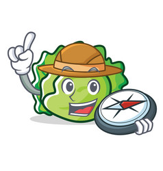 Explorer lettuce character cartoon style vector