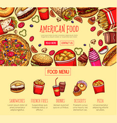 Fast food menu poster fastfood restaurant vector