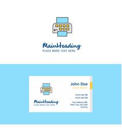 flat printer logo and visiting card template vector image