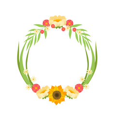 Floral wreath with flowers circle frame with vector