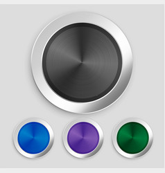 four realistic brushed metallic buttons set vector image