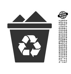 Full recycle bin icon with men bonus vector