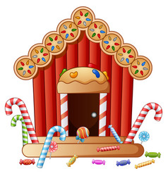 Gingerbread candy house vector