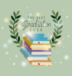 Graduation card with pile books vector