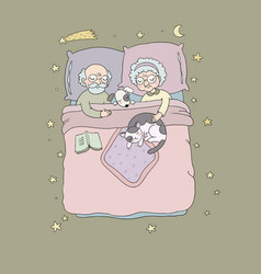Grandfather and grandmother sleep in bed vector