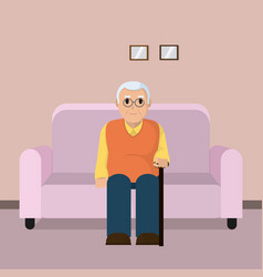 grandfather seated on armchair vector image
