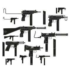 graphic silhouette modern submachine guns vector image
