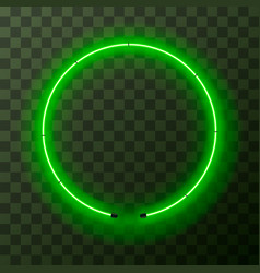 green neon round frame template on transparent vector image