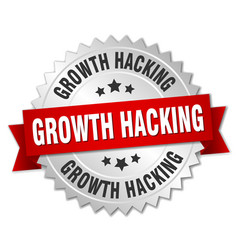 Growth hacking round isolated silver badge vector
