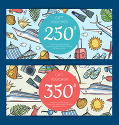 Hand drawn summer travel elements discount vector