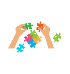 hands hold puzzle hr or collaboration concept vector image