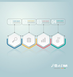 Hexagon infographics 4 steps for business vector