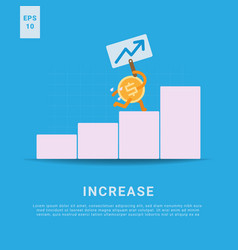 Increase rate iconic money bring board running up vector