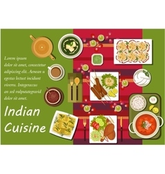 Indian cuisine main dishes and snacks vector image