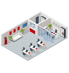 Isometric bank branch bank office financial vector