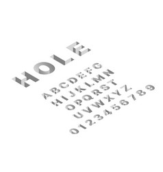 isometric hole font 3d latin gray letters vector image