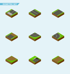 Isometric road set of footpath underground turn vector