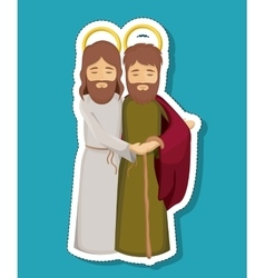 Jesus and joseph cartoon of holy night design vector