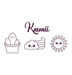 kawaii cactus in a pot design vector image