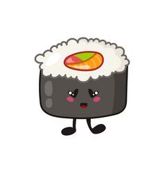 Kawaii sushi rolls sashimi - isolated single vector