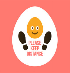 keep your distance sign footprint shoe shape vector image