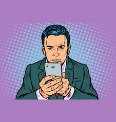 man looks at smartphone vector image