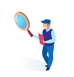 Man specialist in holds magnifier and folder vector
