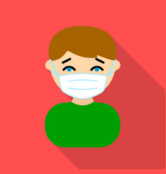 mask infection icon flate single sick icon from vector image