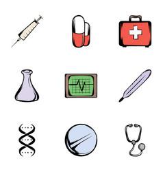 medicine icons set cartoon style vector image vector image