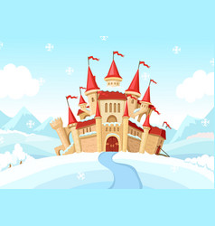 medieval castle on winter landscape cartoon vector image