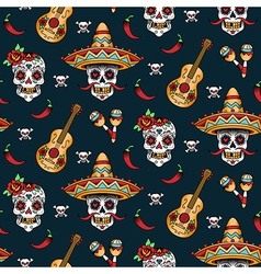 mexican skull pattern vector image