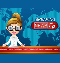 Newsreader is broadcasting on tv vector