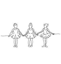 Nice little cute children girls in dance dress vector