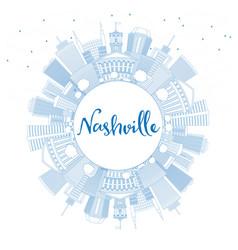 Outline nashville skyline with blue buildings vector