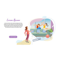 Parenting startup landing page template vector