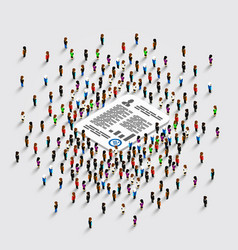 people stand around the document vector image